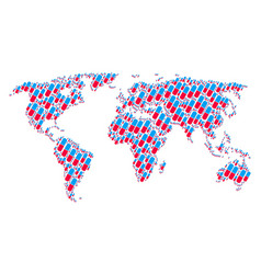 worldwide map pattern of pill icons vector image