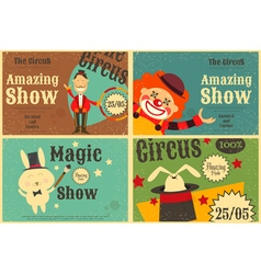 Circus poster retro set vector