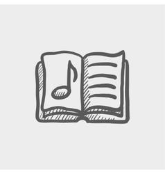 Music book sketch icon vector
