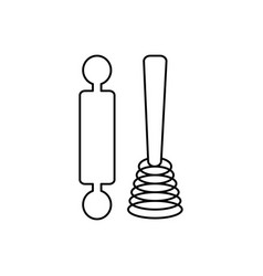 roller and whisk line icon sign vector image