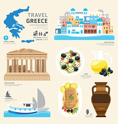 Travel Concept Greece Landmark Flat Icons Design vector image vector image