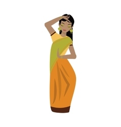 Young traditional indian woman character vector image