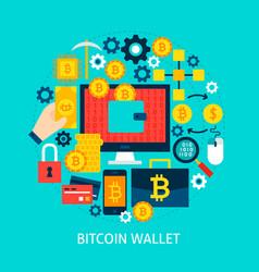 bitcoin wallet flat concept vector image