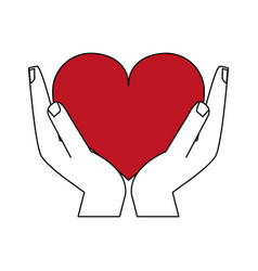 color silhouette image hands holding a red heart vector image