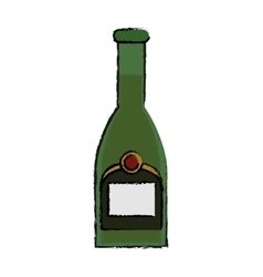 drawing green bottle champagne plastic cork vector image vector image