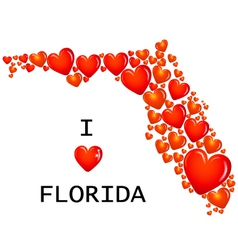 Florida state with hearts vector