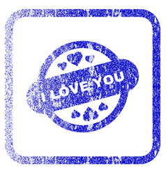 i love you stamp seal framed textured icon vector image