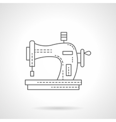 Old manual sewing machine flat line icon vector image