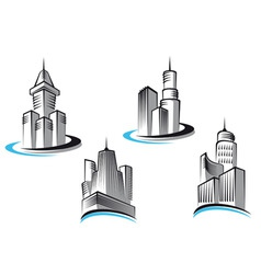 skyscrapers symbols vector image vector image