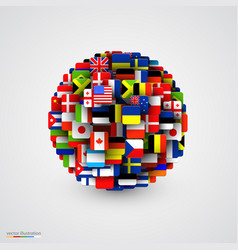 world flags in form of sphere vector image