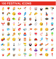 100 festival icons set isometric 3d style vector image vector image