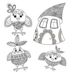 Hicken house funny birds vector