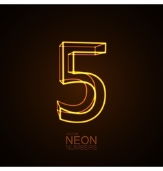 Neon 3D number 5 vector image vector image