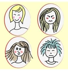 Set of cartoon girls faces vector image vector image