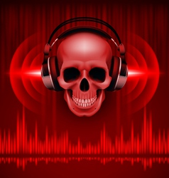 Skull in headphones Disco background vector image