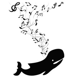 whale sings with music note vector image