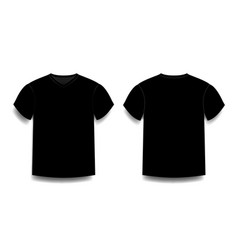 black male t-shirt template v-neck front and back vector image