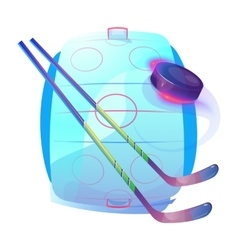 Field or ice hockey sticks and rubber puck logo vector image