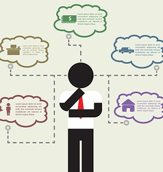 Infographic of businessman Thinking about his life vector image