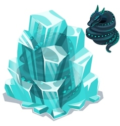 Snakes enclosed in ice crystals two images vector