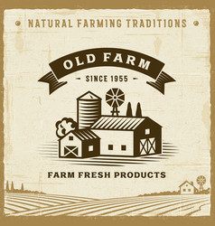 vintage old farm label vector image
