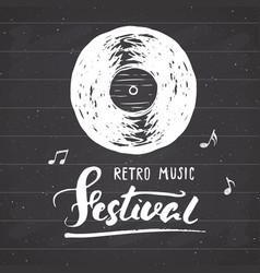 vinyl record and lettering retro music festival vector image