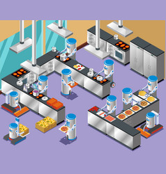 1isometric robotic restaurant composition vector image