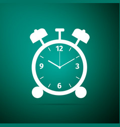 Alarm clock icon isolated on green background vector