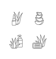 Aloe vera pixel perfect linear icons set bathing vector