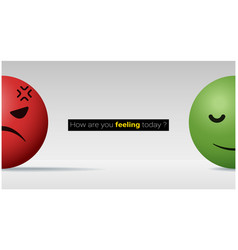 Angry and calm face ball emotional background vector