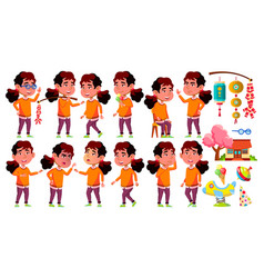 asian girl kindergarten kid poses set vector image