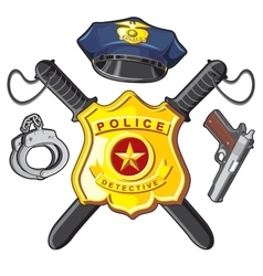 Badge handgun and batons police vector image