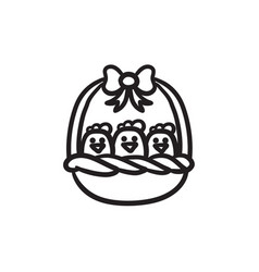 Basket full of easter chicks sketch icon vector