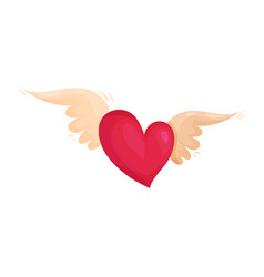 bbright pink heart with wings love and valentine vector image
