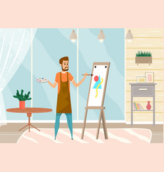 Bearded man drawing picture holding paint brush vector