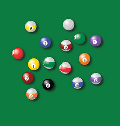 billiard balls pool in green table drawing vector image