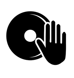 black human hand and disco graphic vector image