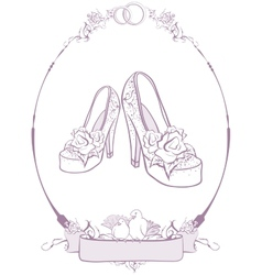 Bride wedding shoes vector