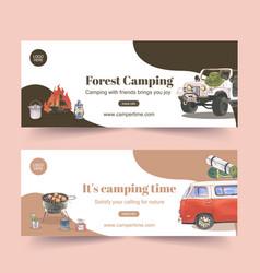 Camping banner design with car lantern campfire vector