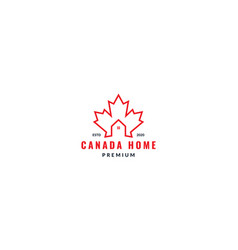Canada maple leaf line with house or home logo vector