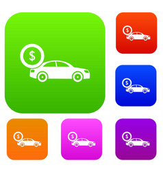 Car and dollar sign set collection vector