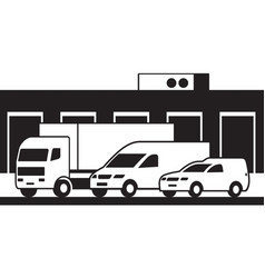 cargo vehicles and warehouse vector image