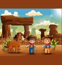 cartoon cowboy and cowgirl with a horse in the des vector image