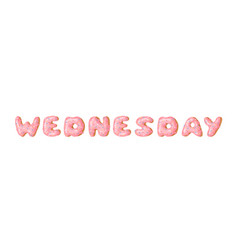 Cartoon donut and word wednesday hand drawn vector