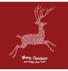 christmas deer on red vector image