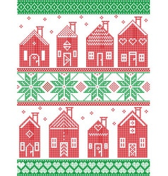 Christmas Swedish winter houses in red and green vector