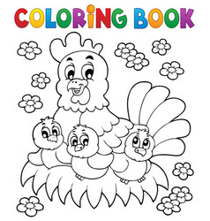 Coloring book chicken theme 1 vector