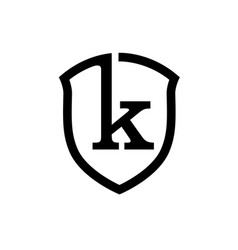creative simple shield letter k logo vector image