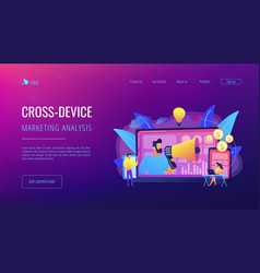 Cross-device marketing concept landing page vector