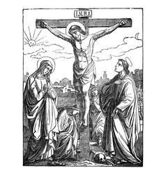 Crucified jesus christ dies on cross bible vector